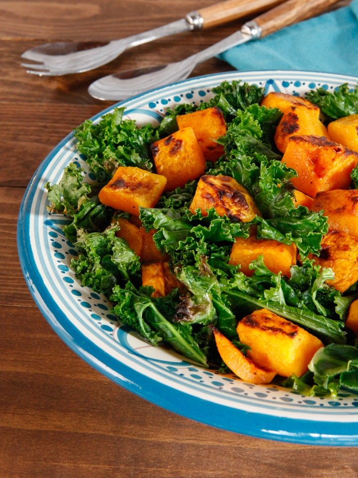 Butternut Squash and Crispy Kale Bake - Simple healthy vegan side dish, made on one baking sheet in less than 40 minutes.