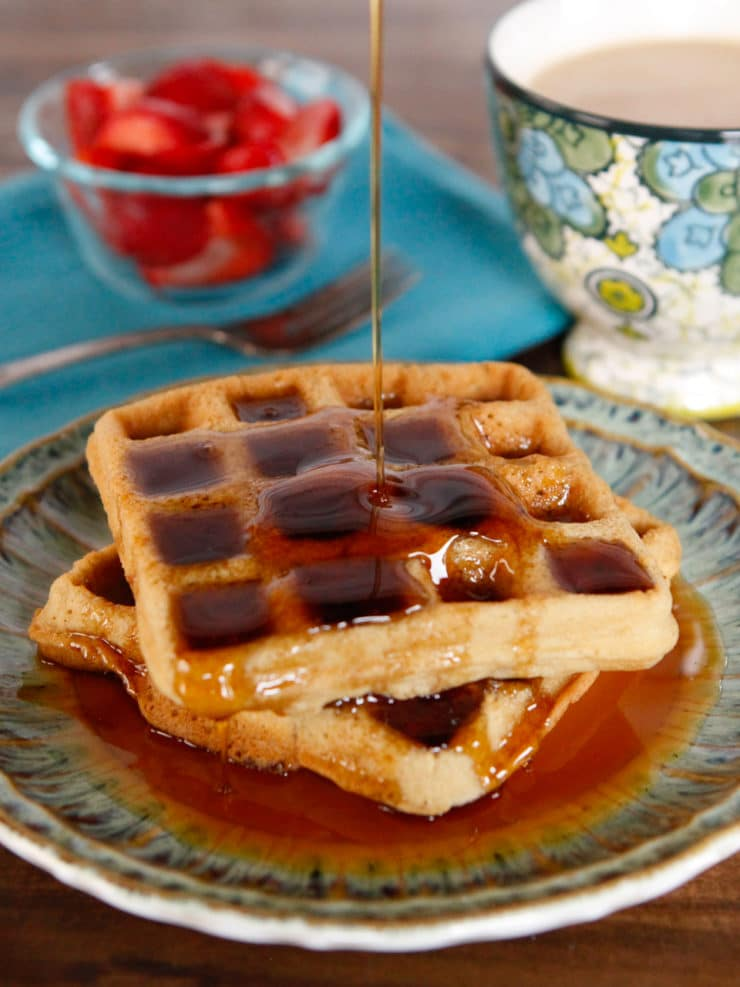 Tahini Waffles - Healthy Naturally Sweetened Dairy Free, Gluten Free Recipe for Breakfast, Brunch or Brinner! Made with coconut sugar, brown rice flower, tahini and spices.