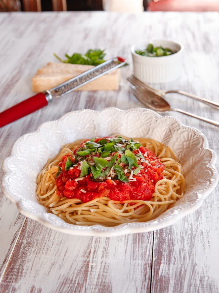 Audrey Hepburn's Favorite Recipe- Spaghetti al Pomodoro - Learn about the childhood of Audrey Hepburn and try her favorite recipe, Spaghetti al Pomodoro, which she learned while living in Italy.