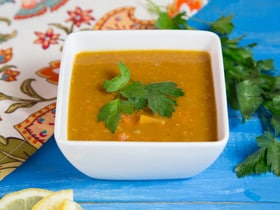 Smoky Lentil Sweet Potato Soup Recipe - Hearty, Flavorful Vegan Soup with Red Lentils, Yam Chunks, and Spices.