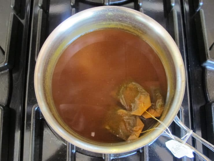 Tea bags steeping.