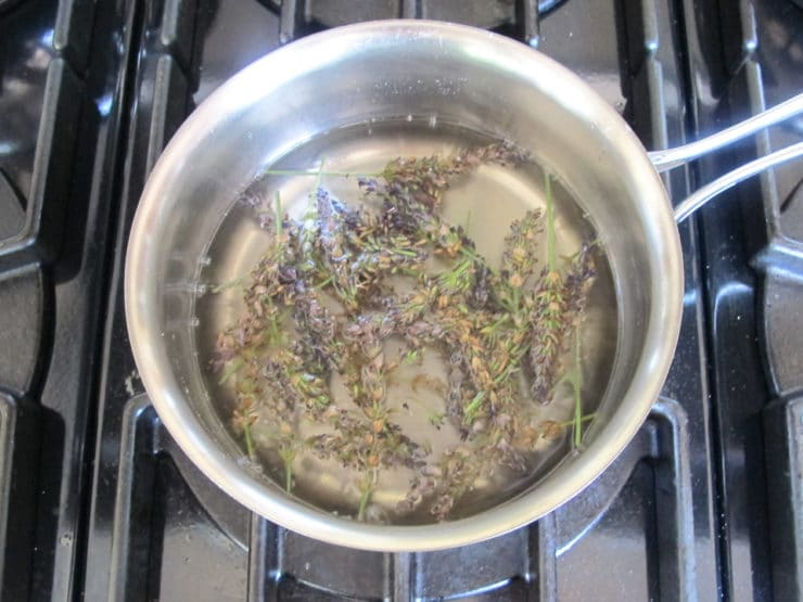 Lavender in a pot of water.