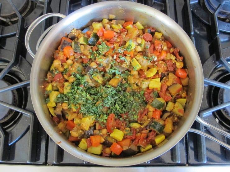 Fresh basil on top of soup.