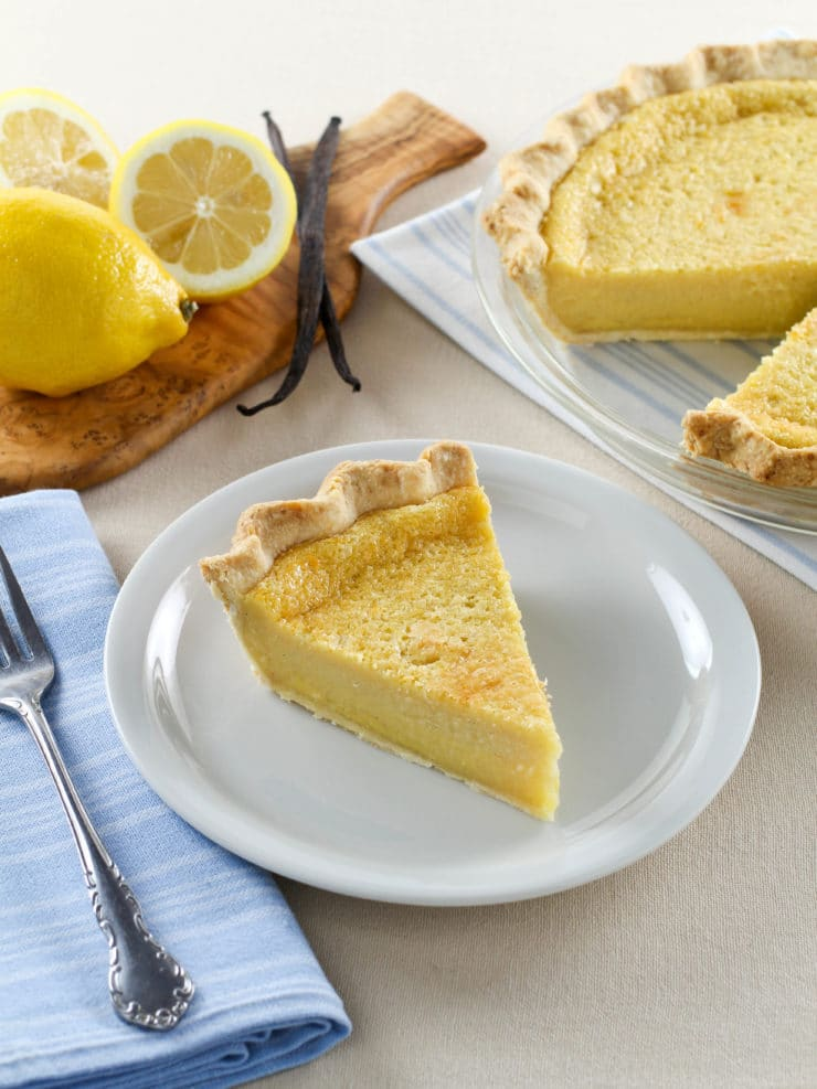 Lemon Vanilla Buttermilk Pie - Classic Dessert with Tart Lemon Custard, Sweet Vanilla and Tangy Buttermilk. Time-Tested Family Recipe from Site Contributor Kelly Jaggers.