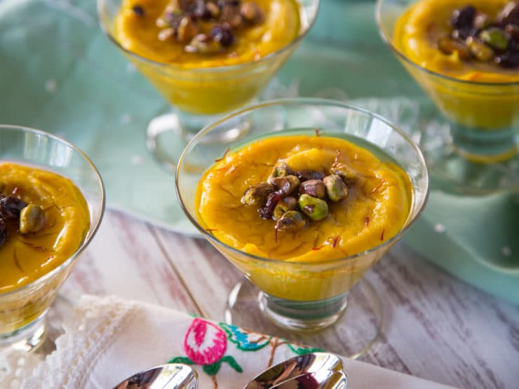 Persian Saffron Pudding - Exotic yet simple gluten free, dairy free, vegan dessert recipe with saffron, pistachios and orange blossom syrup. Make-ahead dessert.