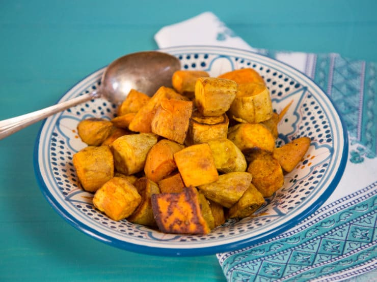 Curry Roasted Sweet Potatoes - Easy, Healthy, Crave-Worthy Vegan Side Dish Spiced with Curry Powder, Cinnamon and Salt.