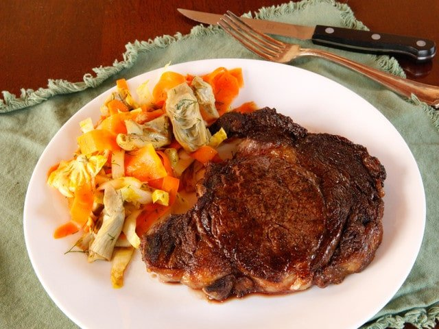 Marilyn Monroe Broiled Steak & Artichoke Carrot Salad