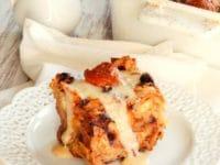 Challah Bread Pudding with Kahlua Cream Sauce Pinterest Pin on ToriAvey.com