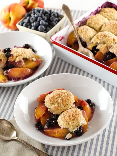 Drop Biscuit Cobbler - Fresh Fruit with a Lightly Sweetened Buttermilk Drop Biscuit Topping. Time-Tested Family Recipe.