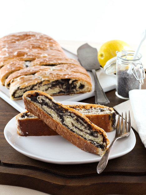 Poppy Seed Coffee Cake Recipe - Tender, flaky yeast bread with poppy seed filling and a sweet lemon glaze. Time-tested family recipe from site contributor Kelly Jaggers.