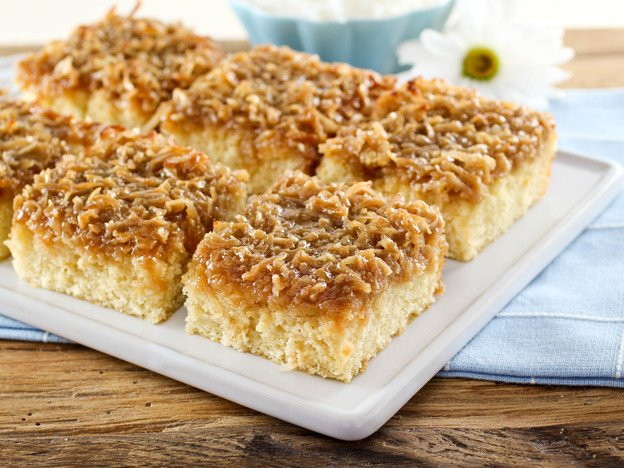 Lazy Daisy Cake – Light, moist vanilla cake topped with a broiled brown sugar coconut icing. Time-Tested Family Recipe.
