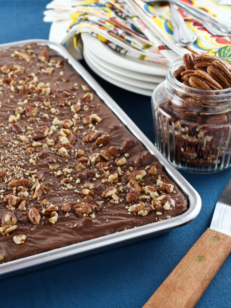 Texas Sheet Cake Recipe for Chocolate Cake with Pecans