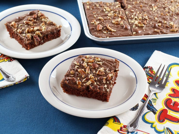 Texas Sheet Cake - Rich, Moist Chocolate Sheet Cake Topped with Chocolate Frosting and Toasted Pecans. Tried-and-True, Quintessential Texas Dessert Recipe.