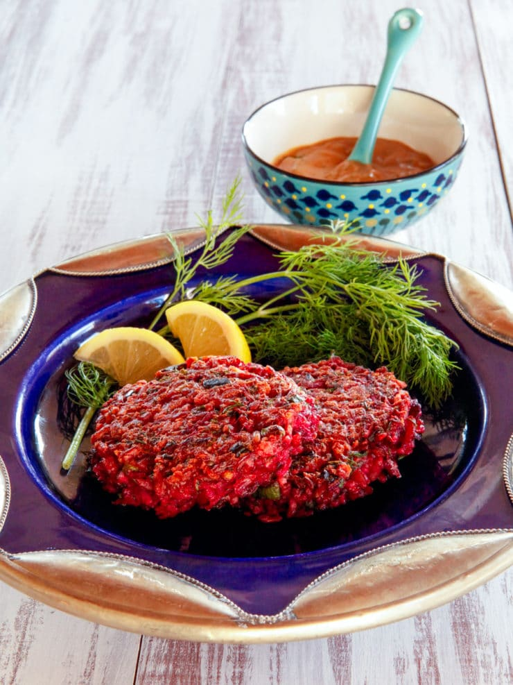 Red Rice and Beet Cakes with Honey Mustard - Crispy, fried vegetarian cakes with a sweet sauce from Simply Ancient Grains