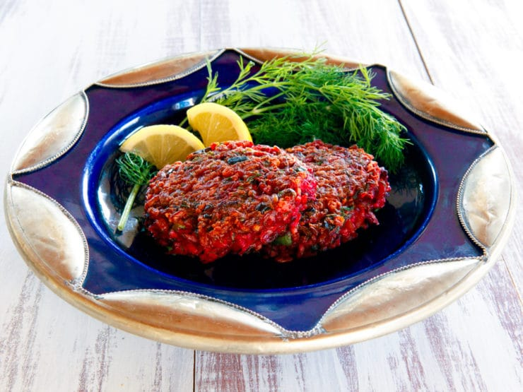 Red Rice & Beet Cakes with Honey Mustard - Crispy, savory vegetarian beet and oat cakes lightly fried with a tangy-sweet sauce from Maria Speck's Simply Ancient Grains. Delicious option for Rosh Hashanah!