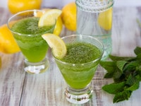 Spiked Limonana - Ice-Blended Lemonade with Fresh Mint and a Splash of Vodka. Delicious Frosty Cocktail