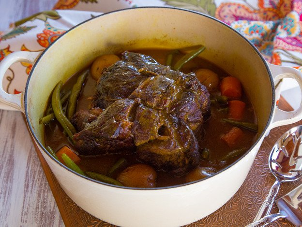 Savory Grass Fed Pot Roast - Easy, flavorful recipe for grass fed pot roast with turmeric, onions, garlic & spices. Simple one pot meal.