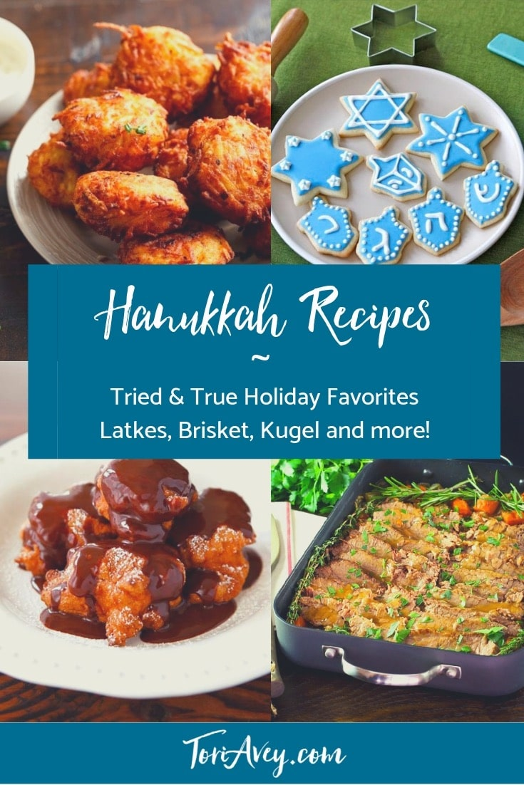 Hanukkah Holiday Recipe Roundup - Delicious, inspired recipes for your Hanukkah holiday table. Includes appetizers, entrees, sides, and desserts. | Tori Avey #TorisKitchen #hanukkah #chanukah #holidayrecipes #kosher #jewishholiday #kosher