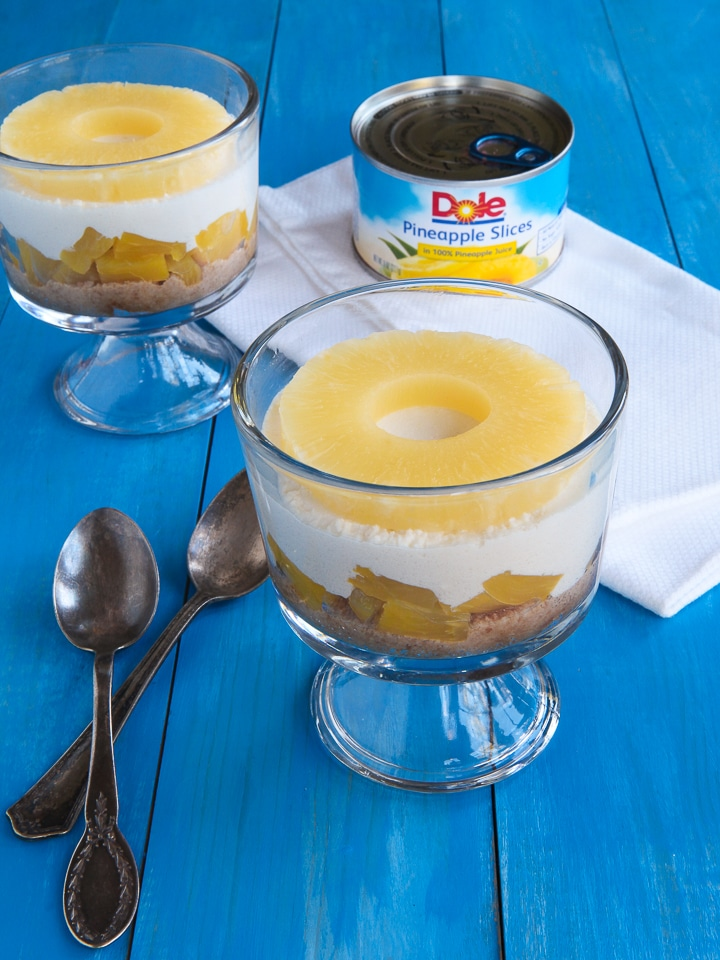 Pineapple Cheesecake Parfaits - Celebrate the Holidays with a Tasty Cheesecake-Inspired Dessert Made with Dole Pineapple Products #ChainofCheer #Sponsored