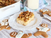 Eggnog Gingerbread Kugel - Jewish Noodle Casserole Made with Eggnog, Holiday Spices and a Gingersnap Crumble Topping from ToriAvey.com