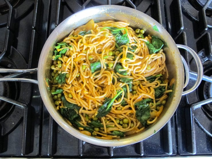 Smoky Pasta with Peas & Greens - Simple Vegetarian Pasta Dish with Smoked Paprika and Spices from Tori Avey.com