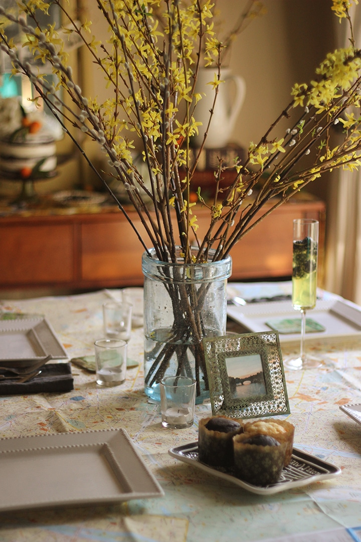 Golden Memories Party - Brenda Ponnay shares how to create a nostalgic tablescape with vintage items, maps and old photographs to celebrate beautiful memories.