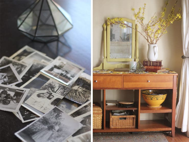 Golden Memories Party - Decorating a Nostalgic Tablescape with Vintage Items, Maps and Old Photographs