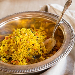 Middle Eastern Roasted Vegetable Rice - A fancy, fabulous vegan entree or side dish.