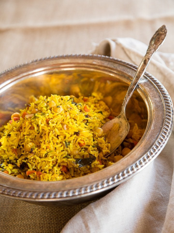 Middle Eastern Roasted Vegetable Rice - Fluffy basmati rice with turmeric & Middle Eastern spices, roasted eggplant and carrot, chickpeas & pine nuts. Fabulous vegan entree or side dish.