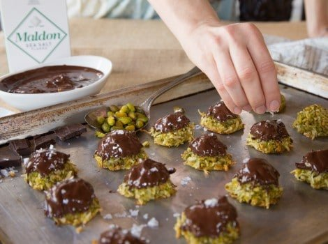 Dark Chocolate Pistachio Macaroons with Rosewater and Sea Salt Flakes - Delicious Gluten Free Treat for Passover or Anytime