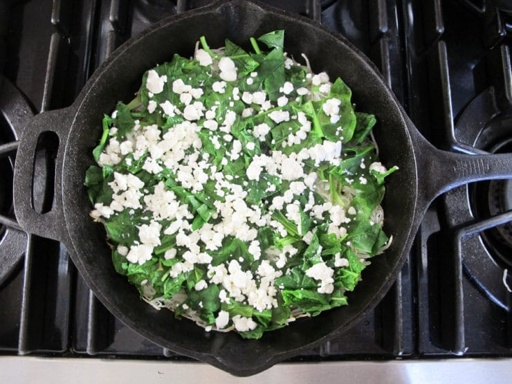 Potato Crusted Spinach Frittata - Gluten free vegetarian frittata with spinach, crumbled goat cheese and a crispy potato crust