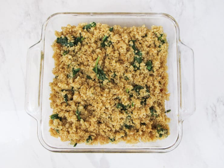 """Sweet Potato Spinach Quinoa Casserole - Vegan gluten free entree for Passover or anytime, topped with a rich coconut-saffron """"gratin"""" sauce."""