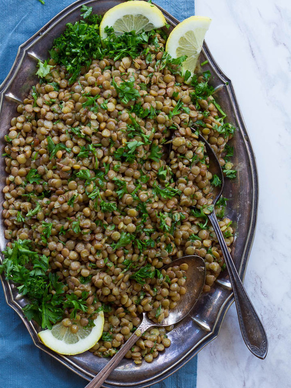 Lemon Lentil Parsley Salad - Simple, Healthy Vegan Side Salad with Protein and Fiber on ToriAvey.com