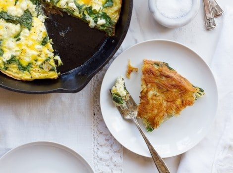 Potato Crusted Spinach Frittata