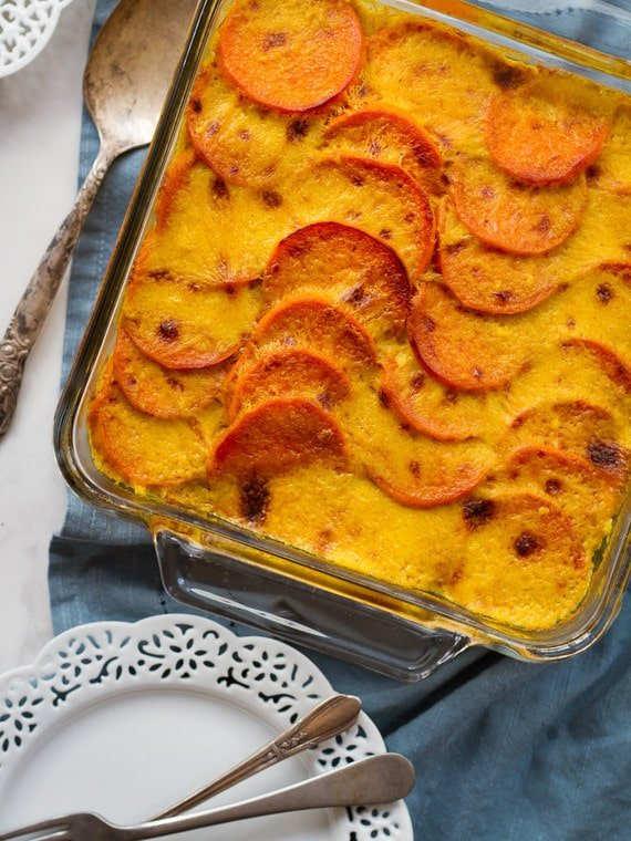 "Sweet Potato Spinach Quinoa Gratin - Vegan gluten free casserole entree for Passover or anytime, topped with a rich coconut-saffron ""gratin"" sauce."