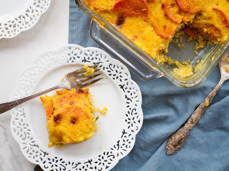 "Sweet Potato Spinach Quinoa Casserole - Vegan gluten free entree for Passover or anytime, topped with a rich coconut-saffron ""gratin"" sauce."