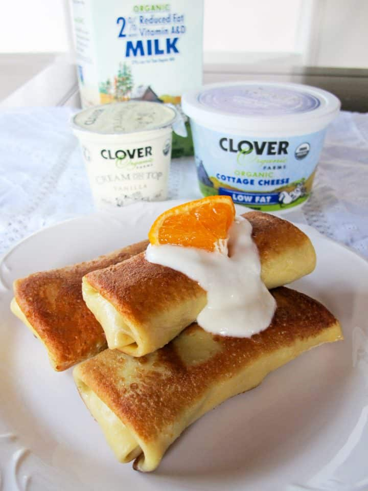 Clover Citrus Vanilla Blintzes – Celebrate Hanukkah with Citrus Scented Blintzes filled with a Creamy Citrus Filling Made with Clover Organic Dairy Products #clovercooks #spon