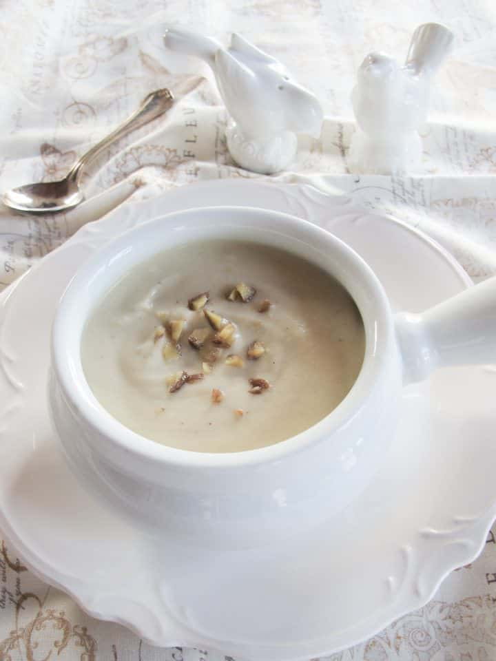 Jerusalem Artichoke Soup - Easy Creamy Soup Puree with Chestnut Garnish