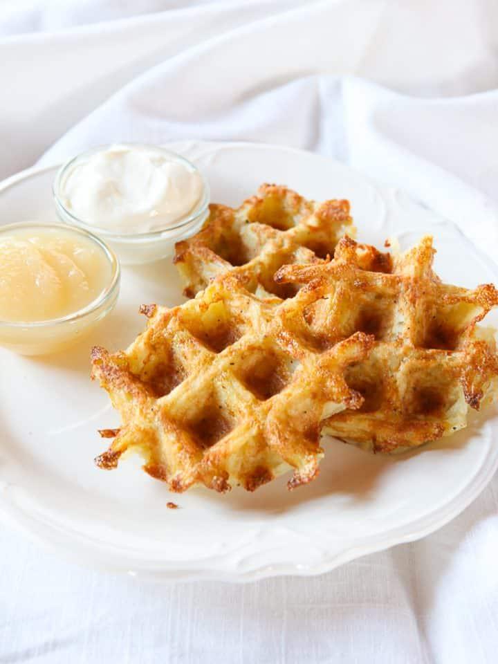 Latke Waffles - Make potato pancakes in a waffle iron! Hot crispy hash brown waffles for breakfast or brunch. Hanukkah breakfast or brunch recipe.