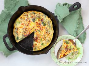 Broccoli Cheddar Frittata with Smoked Paprika - Delicious Vegetarian Entree for Breakfast, Brunch or Dinner