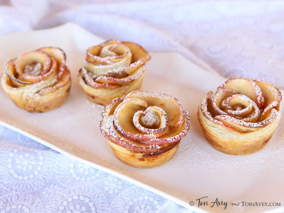 Apple Date Rose Tarts - beautiful tarts with an exotic filling of date, rosewater and cardamom. Surprisingly easy to make!