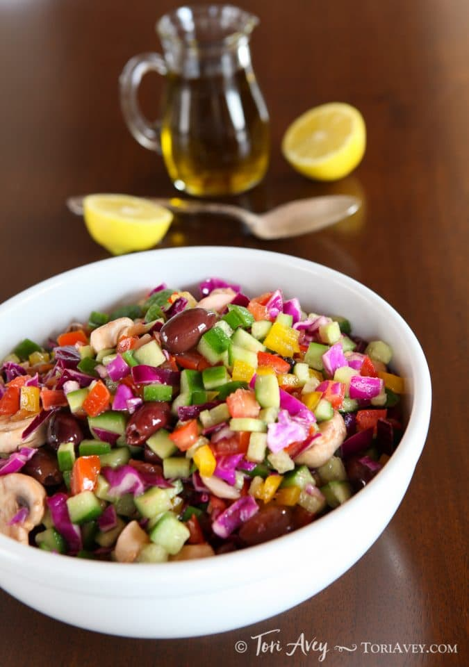 Rainbow Israeli Salad on ToriAvey.com