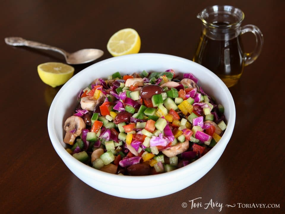 Rainbow Israeli Salad - colorful vegan side dish from Israel. So easy, pretty and flavorful!