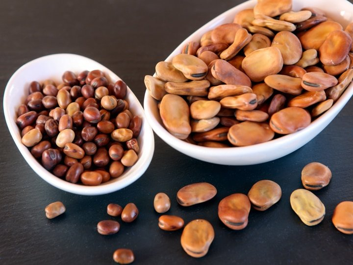Dried large and small fava beans in two white dishes on black background.