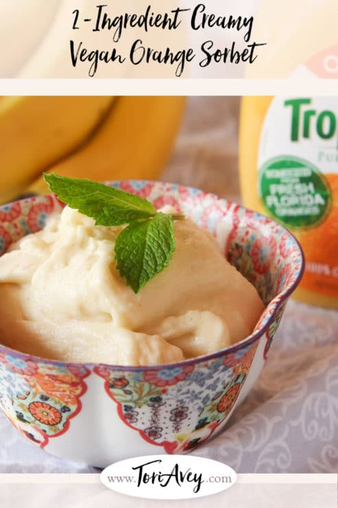 2 Ingredient Creamy Vegan Orange Sorbet Pinterest Pin on ToriAvey.com