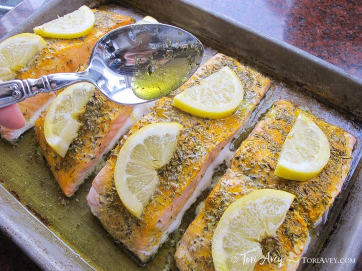 Lemon Turmeric Salmon - A Recipe from Chef Uri Jeremias of Uri Buri Restaurant in Acre, Israel.