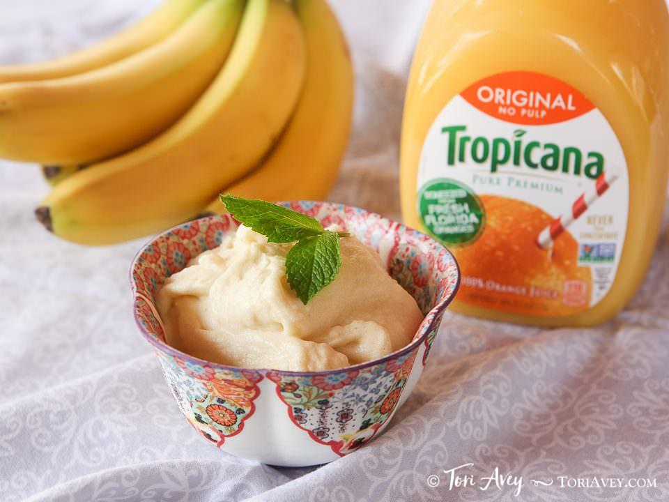 2-Ingredient Creamy Vegan Orange Sorbet – Ultra-Simple Healthy and Dairy-Free Passover Dessert #PassOverTheTrop