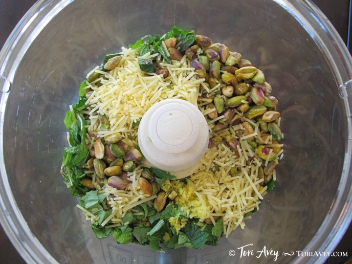 Pistachio Mint Pesto - Flavorful fresh herb pesto sauce with fresh mint, roasted garlic, basil, lemon and parmesan.