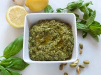 Pistachio Mint Pesto - Flavorful fresh herb pesto sauce with fresh mint, roasted garlic, basil, lemon and parmesan.