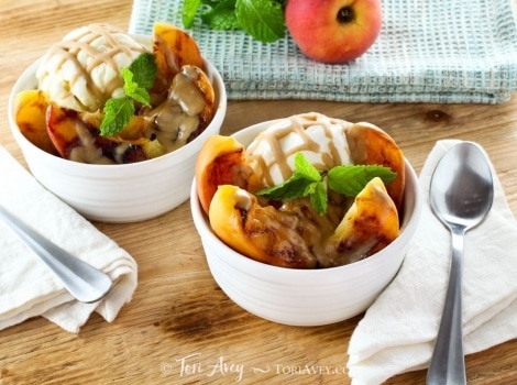 Grilled Peach Sundae with Brandy Butterscotch Sauce
